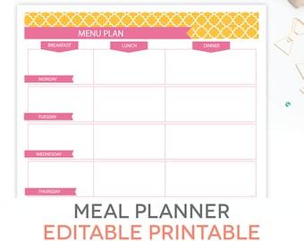 Meal Planner Printable Set Editable Weekly Menu Plan Recipe Etsy