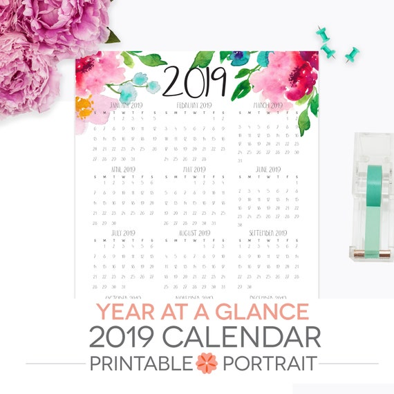 Year At A Glance Calendar 2018 Printable Letter Size Etsy