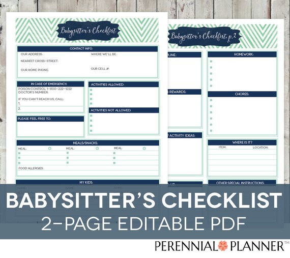 babysitter s checklist printable editable 2 pages etsy