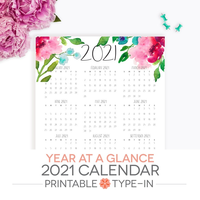 Year At A Glance Calendar 2021 Printable Letter Size | Etsy