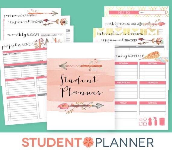 College Planner EDITABLE Printables Student Academic Etsy