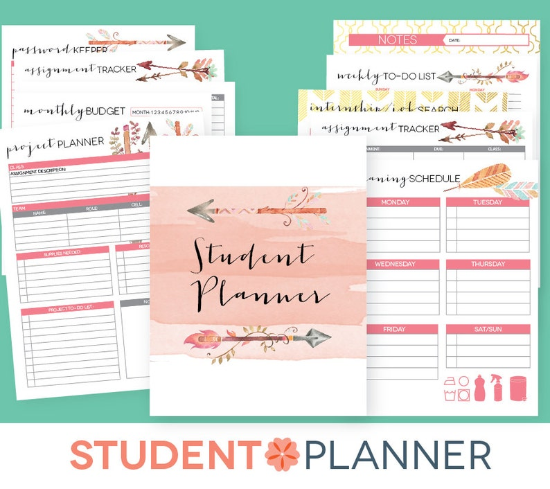 photo about College Organization Printables identified as School Planner EDITABLE Printables University student Educational Organizer Red, 2018-2019 Cl Program back again towards college