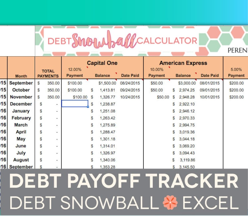 Debt Payoff Spreadsheet  Debt Snowball Excel Credit Card image 0