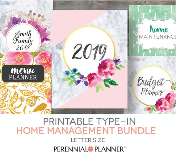 Printable Planner 2019 Home Management Binder Editable