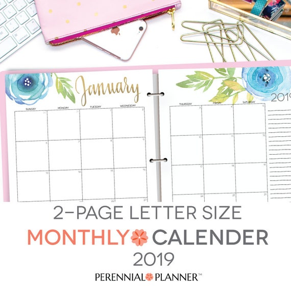 Printable Calendar 2019 Editable Digital Monthly Pages Etsy