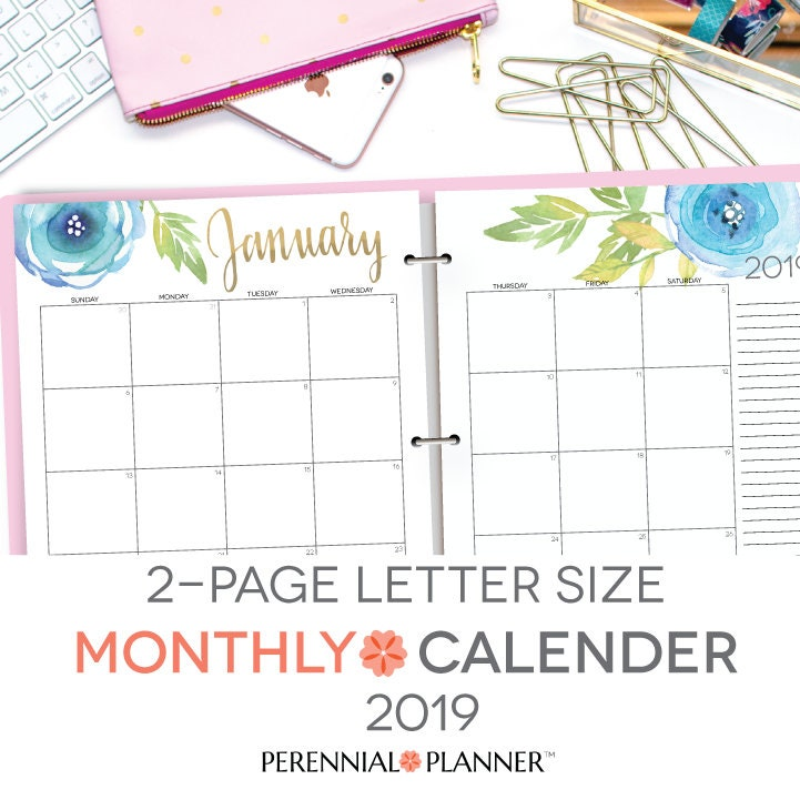 Printable Calendar 2019 Editable Digital Monthly Pages