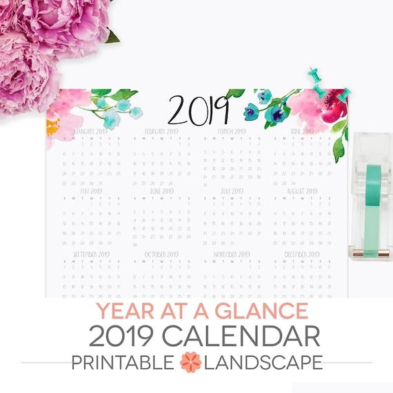 year at a glance calendar printable