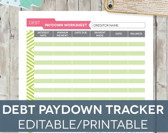 Debt Tracker Worksheet, Editable Printable INSTANT DOWNLOAD Letter-sized