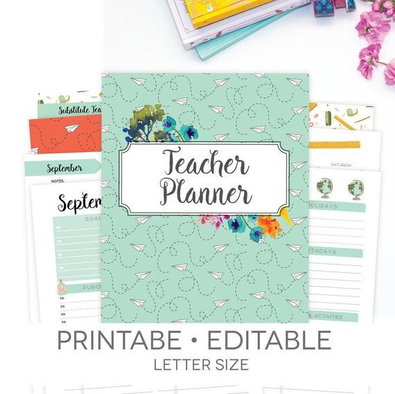 teacher planner printable editable 186 pages 2018 2019 etsy