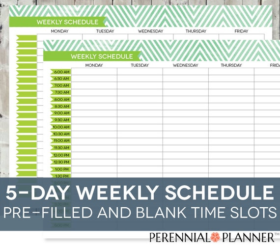 weekly schedule printable with times
