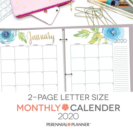 Printable Calendar 2019 2020 Editable Digital Monthly Pages Etsy
