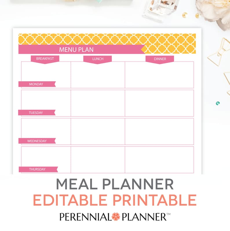 image relating to Weekly Meal Planning Printable identified as Menu Software, Weekly Evening meal Coming up with Template Printable - EDITABLE PDF - Breakfast, Lunch, Evening meal Planner