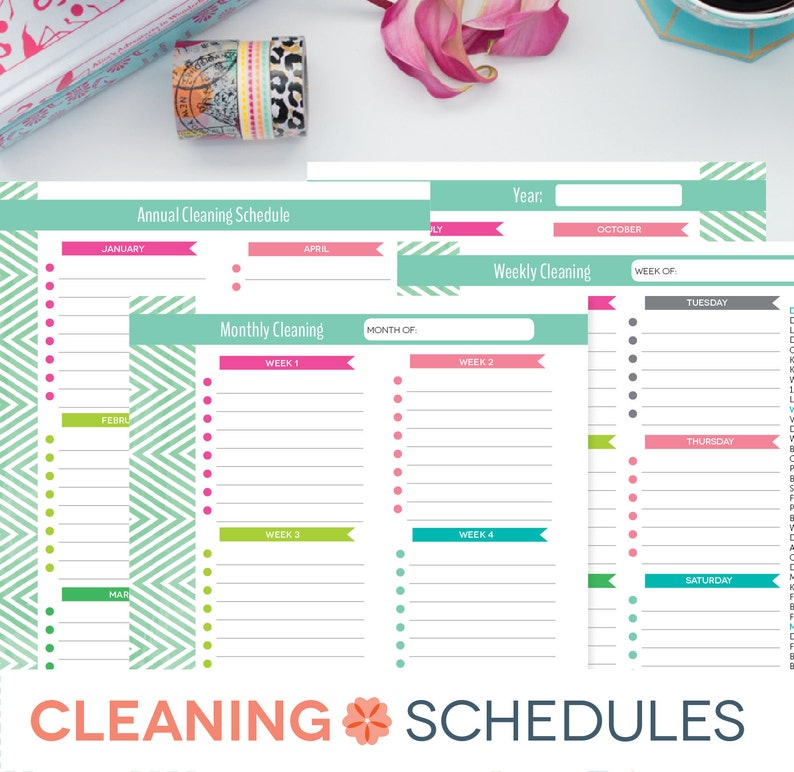 graphic regarding Printable Weekly Cleaning Schedule named Cleansing Plan Printable, Weekly Regular, On a yearly basis, New Home Timetable Record, EDITABLE PDF Prompt Down load, 8.5x11