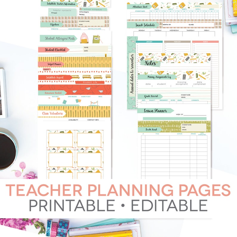 photo about Teachers Plan Book Printable named Trainer Developing Web pages Printable, Editable, Lesson System, E-book Post, Instructor Reward, Again towards Higher education, Homeschool