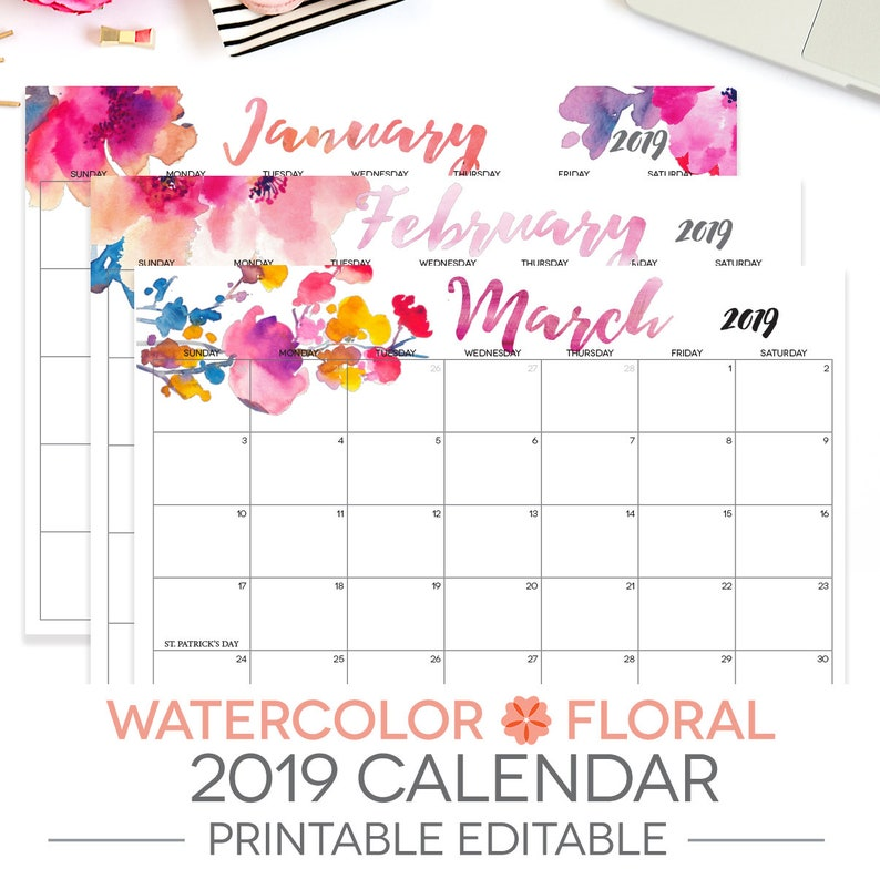 2019 Printable Calendar Editable 12 Month Letter Size