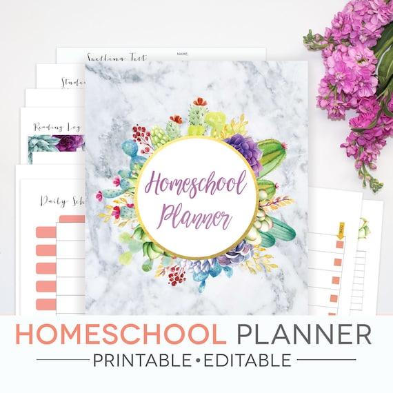 Homeschool Planner Printable Editable 21 Documents