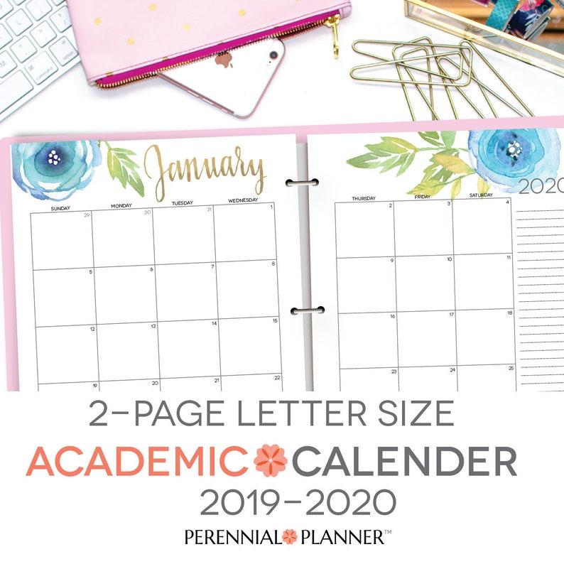 photo regarding Printable Academic Calendar identify Printable Instructional Calendar 2019-2020, 2 Site Distribute, Editable, Letter Dimensions 8.5\