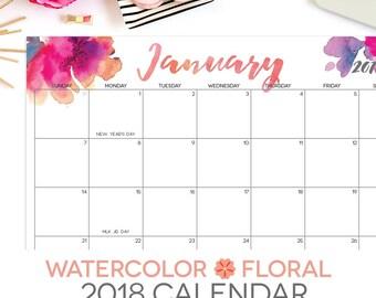 "2018 Printable Calendar   Editable   12 Month   Letter Size 8.5"" x 11""   Instant Download   Landscape"