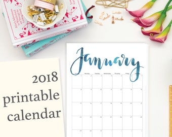 """2018 Printable Calendar, Calligraphy, Editable, Letter Size 8.5"""" x 11"""" Instant Download, Portrait, Wall (2017 included)"""