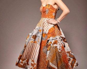 African Print Dress Ankara Dress Party Dress African Clothing Strapless Dress African Dress African dresses Women's Clothing African Fabric