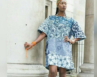 Carla African Blue print Tunic Ankara dress e57236456