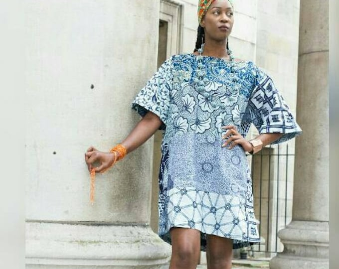 Featured listing image: Carla African Blue print Tunic Ankara dress
