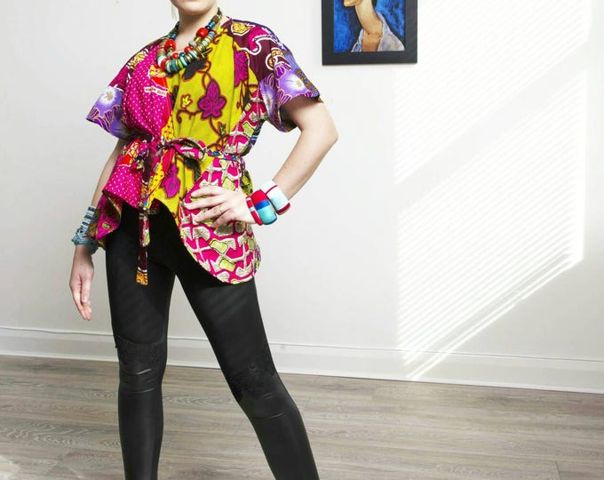 Featured listing image: Ladi Pink Wrap top Ankara blouse African Clothing African Print Top African Fashion African Top African Blouse Ankara