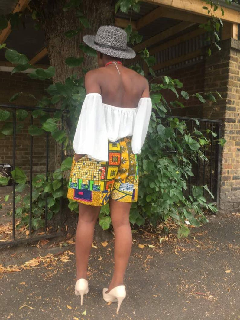 Elie Yellow mix shorts or Red option African print mix Ankara short skorts by Sosome shop