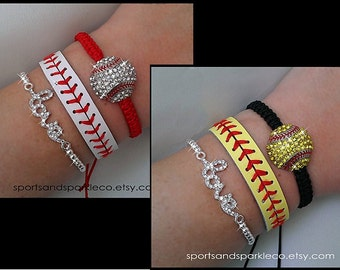 Baseball or Softball Woven Bracelet, Leather Bracelet and Rhinestone LOVE Stretch Bracelet Set