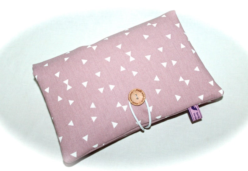 Diaper bag wrap bag with name pink for girl with wet wipe compartment gift birth graphic old pink triangles