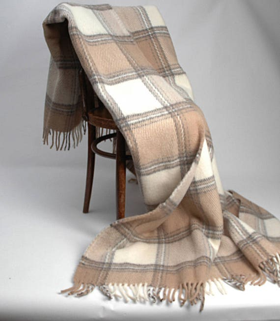 Pure Wool blanket with fringes Milk whiteSand beige check Lambswool blanket Pure wool throws Wool throw 55/'/'X81/'/'140X205cm Perfect gift