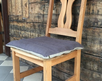 Burlap linen chair cushion with cover,  Linen bench cushion, Chair pad with buckwheat hulls, Buckwheat hull chair cushion 17'x17'/45cmx45cm