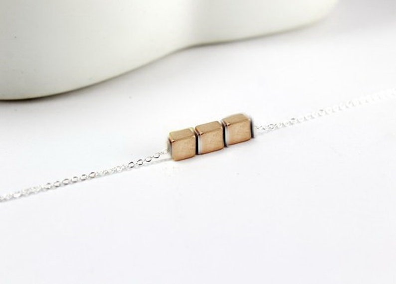 3 sisters three best friends gift .Three square necklace.geometric necklace,.rose gold square necklace Square necklace in rose gold