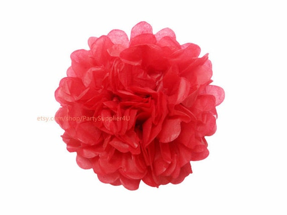 Red tissue paper pom poms 1 medium 10 inch tissue paper etsy image 0 mightylinksfo