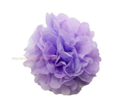Flores Grandes De Papel De Seda Lila Papel De Seda Pompones Etsy