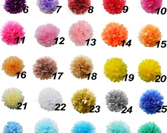 30 Mixed Size Tissue Pom Poms ,Pick Your Colors , Hanging Paper Decor ,Tissue Paper Flowers,Tissue Paper Balls,Tissue Paper Pom Poms