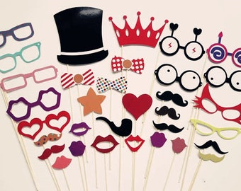 Birthday Photo Booth Props -  Kids Party Photo Party Props On a Stick Set of 33  - Photobooth Photo Booth Props