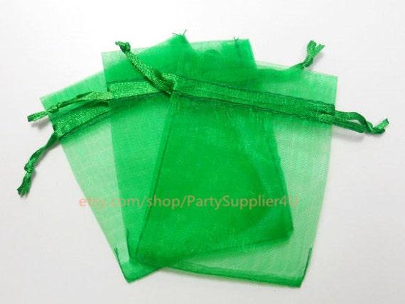 Organza Favor Bags 100 Emerald Green Organza Gift Bags with Satin Drawstrings,3x4 In Sheer Fabric Favor Bags Party Wedding Goodie Bags Bulk