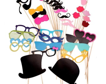 Photo Party Props On a Stick - 36 Piece Photo Booth Props Set - Photobooth Wedding Photo Booth Props