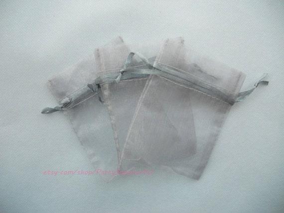 Organza Favor Bags 100 Silver Organza Gift Bags with Drawstring,3x4 In Sheer Fabric Favor Bags Party Mini Organza Favour Bag Bulk SALE