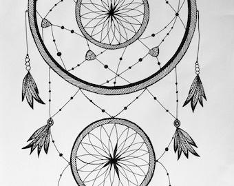 A3 Hand drawn Dreamcatcher
