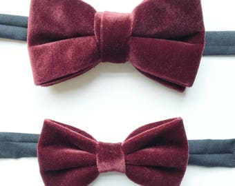 f381c4f7d854 Father son gift set, Matching mens and boys bow tie gift set, burgundy  velvet bow tie, mens bow tie, boys bow tie, christmas gift