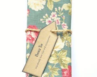 Mens pocket square, floral pocket square, turquoise pocket square, wedding pocket square, mens handkerchief