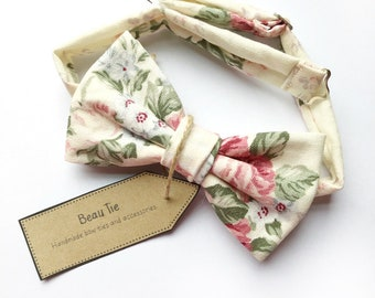Mens floral bow tie, chintz floral print in ivory, pink and sage linen.