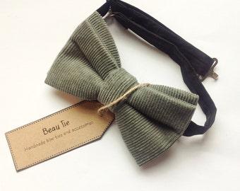 mens bow tie sage green, corduroy bow tie, cotton bow tie, green bow tie, sage green, wedding