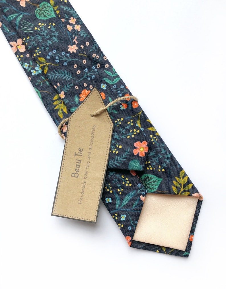 dfdd924ba179 Men's navy blue floral tie navy blue cotton tie handmade   Etsy