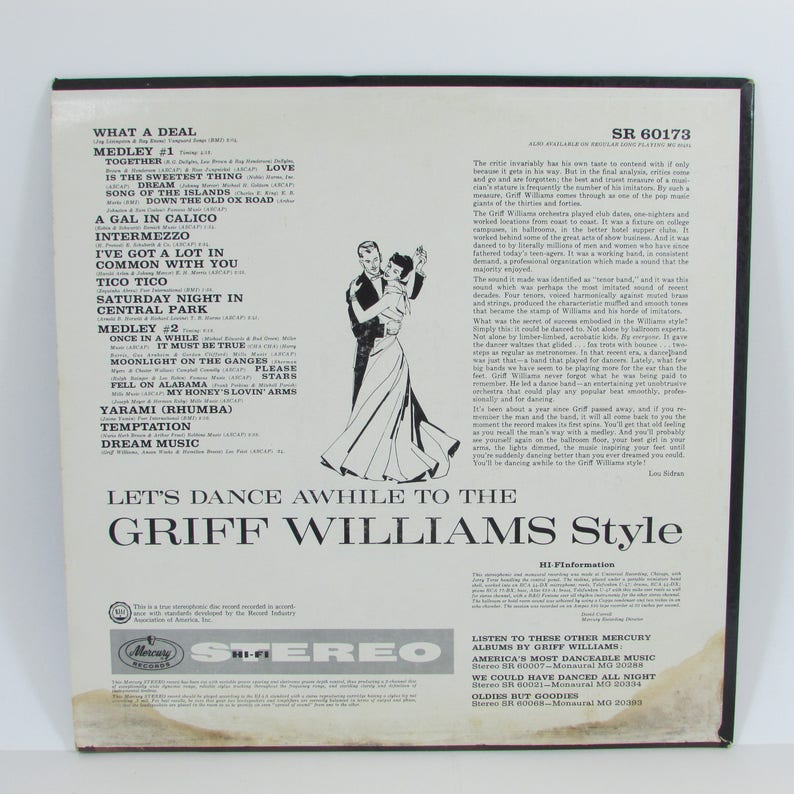 Let's Dance Awhile to the Griff Williams Style, Mercury Records Vintage Mid  Century 1961 Vinyl LP Record Album, Ballroom Dancing Dance Music