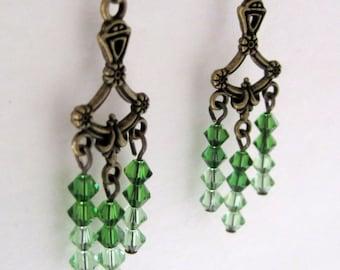 Green Chrystal Chandelier Earrings; Green Ombre Earrings