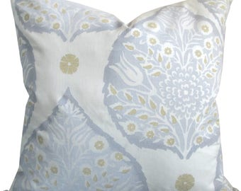 Lotus Flower In Dove Grey/Cream-High End Designer Decorative Pillow Cover- Galbraith And Paul-Accent Pillow-Toss Pillow-Single Sided