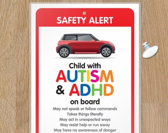 DISABILITY ADHD SEN Awareness Sign for Emergency services HANC2 Funky Monkey House Autism Car Sign